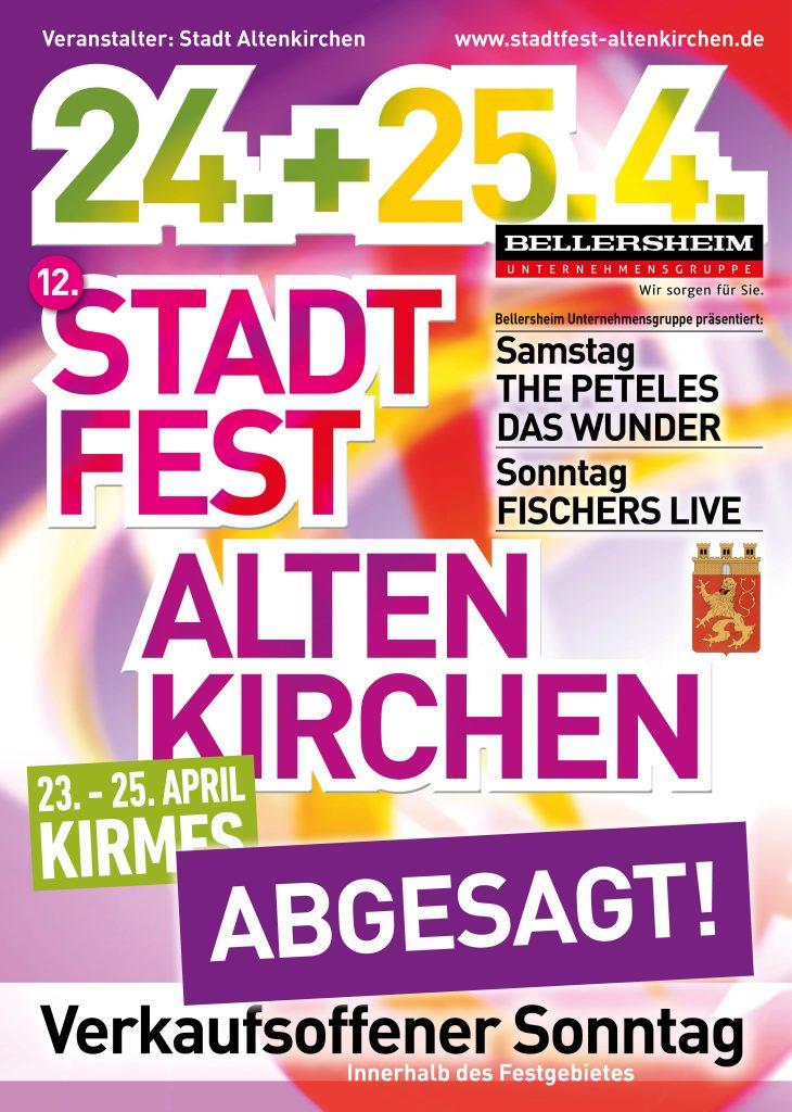 Das 12. Stadtfest in Altenkirchen am 24. + 25. April 2021 ist leider abgesagt!